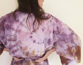 Hand Dyed Kimono Robe in Super Bloom , Purple and Ocher Tie Dyed Rayon Bathrobe, Anna Joyce, Portland, OR.