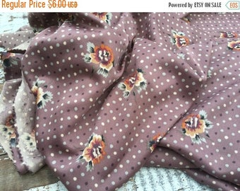 40% OFF- Vintage Polyester Fabric-Silky Feel-Polka Dot and Floral Fabric