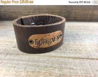 50% OFF- Stamped Leather Cuff--Word Cuff-Forgiven-