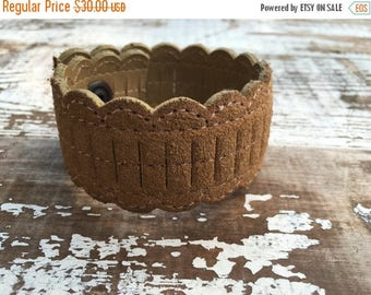 40% OFF- Custom Leather Cuff-Create Your Own-Tan Suede and Leather-Word Cuff