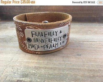 40% OFF- Stamped Leather Cuff-Scripture Cuff-Psalm 139-Mother's Day-Word Cuff-