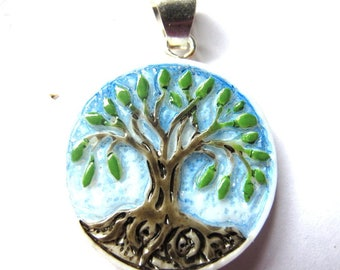 MS Handcarved Hand Painted Bone Pendant Tree of Life Fair Trade Bali