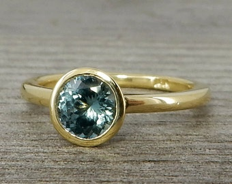 Sapphire Ring in Recycled 18k Yellow Gold - Engagement, Wedding, or Just Because - Fair Trade, Ethical, Eco Friendly, size 5.5