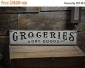 ONE SALE Groceries & Dry Goods Sign - Kitchen Distressed Primitive Rustic Hand Made Vintage Country Wall Decor Wooden Pantry Signs ENS100027