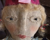 MUSTARD SEED ORIGINALS, very Primitive, Americana, Patriotic,  July, Vintage, Antique, Early American, Old Cloth Doll by Sharon Stevens