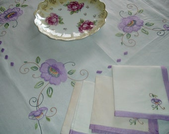 Vintage Hand Appliqued and Embroidered Tablecloth and Napkins Set Purple Poppies