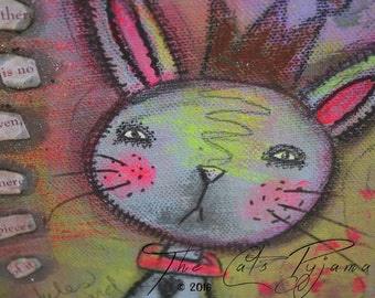 Whimsical Bunny Rabbit painting Mixed Media Bright colors on Canvas Sweetheart Easter Inspirational Heaven on Earth quote nursery art loose