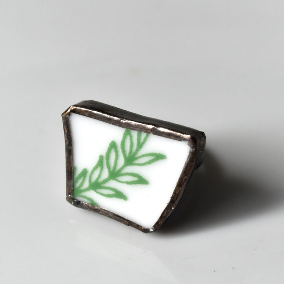 Broken China Ring - Green and White