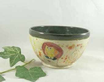 Green Ceramic Bowl, Cereal Bowl, Ice Cream Dish, Collectible Decorative Functional Art Dish, ceramics and pottery Clay Bowl, Soup Bowl 760