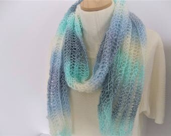 Knit Scarf Knit Lacy Multicolor All Seasons Scarf Light and Airy Blue Grey Cream and Aqua Accessory Fashion Scarf  Gift Idea