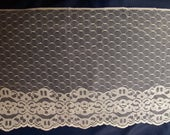 Vintage 7-1/2 IVORY Net Floral Hexagon Lace Tulle Scalloped Edge 5 Plus Yds. Bridal Doll Linens