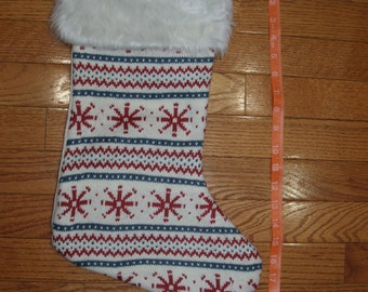 Personalized Christmas Stocking, Personalized Christmas Sweater Stocking, Christmas Snowflake Stocking, Cream Stocking