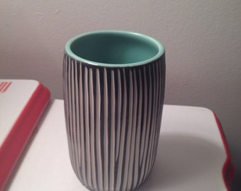 Modern Porcelain Tumbler Cup vase turquoise black white