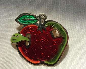 Vintage brooch red Apple with a green worm