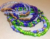 Freundschaftsarmband blau - grüne Freundschaft Armband - Perlen Schmuck - Stretch Armband - Wrap Armband - Seed Bead Schmuck - Geschenk für Sie