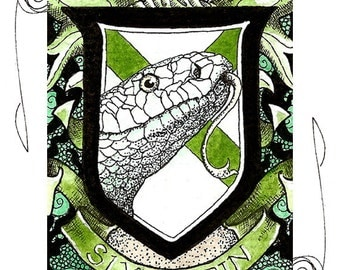Slytherin Crest ACEO 2.5x3.5 Print Mini Trading Card Art