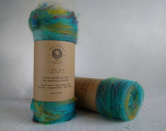 Carded Art Batt - Art Yarn - Azure - Fibers for Spinning - Wool Fibres - Merino Wool - Sari Silk - Wool Batt - Blue - Yellow - 50g