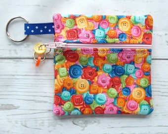 Button Print Ear Bud Case - Ear Bud Holder - Earphone Case - Button Coin Purse - Seamstress Gift - Key Chain - Crafters Gift - Mini Bag