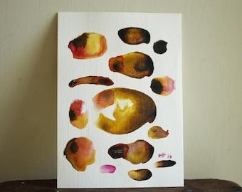 "Original abstract painting 7""x5"" / Water colour painting / original art / crimson yellow brown black / contemporary modern art / pamelatang"