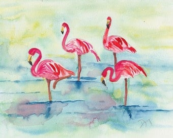 Sunset Flamingoes Original Watercolor