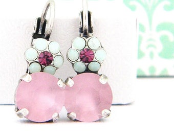 Mint Lilac Amethyst Crystal Flower Antique Silver Earrings with Swarovski Elements