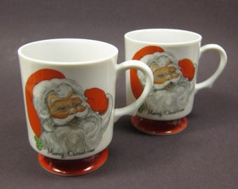 Vintage Christmas Mugs Santa Print Red White Merry Christmas Footed Cups Set of 2 Pair