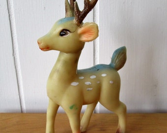 vintage BLUE rubber reindeer Japan
