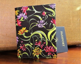 Passport Holder Credit Card Case Travel Cloth Black with Flowers