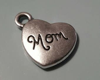 Heart Charms - 5 pcs. - Mom Heart Charms - Antique Silver Charm - 3D Heart Charm - Two Sided Charms - Mom Charms - Silver Charms