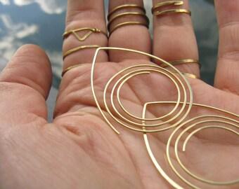 Triple spiral, geometric tribal thread through hoops in brass,