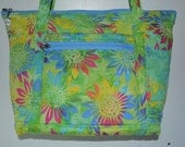 Quilted Fabric Tote Beautiful Batik Green with Sunflowers