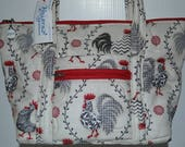 Quilted Fabric Handbag Purses Beige with Chickens