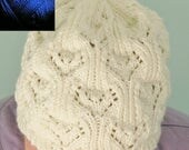 Slouchy Hat, Womens Lacy Beret, Hand Knitted Cap