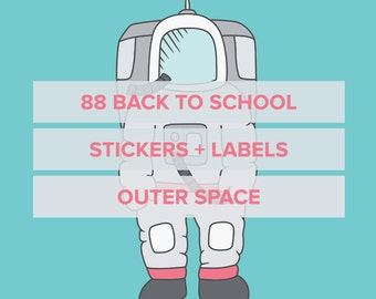 88 back to school stickers - Outer Space - labels