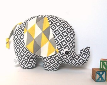 Gift for Kids, Gray and Yellow Elephant Toy,  Stuffed Elephant - Unique Kids Toy