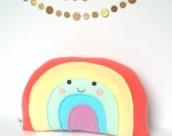 Pastel Rainbow Pillow, Kids Pillow, Nursery Decor, Rainbow Softie, Plush Rainbow