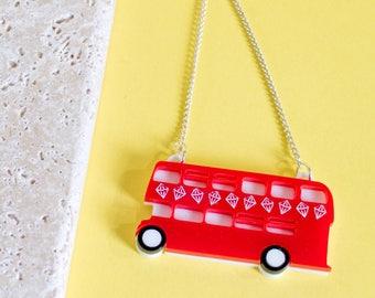 London Bus Necklace - bus necklace - London necklace - London jewellery - london jewelry - British necklace - London inspired - London gift