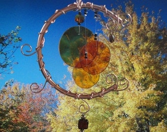 Stained Glass Wind Chime, Harvest Moon, Home and Garden Decor, Amber, Window Hanging, Celestial, Autumn, Decor, Garden Art, Vintage Glass