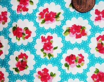 Cute Cotton Fabric - Turquoise Rose