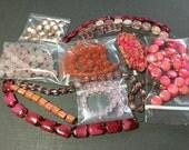 Pink Beads Assortment Variety Mixed Lot Destash Gemstone Jewelry Making Warm Jewel Tone Purple Jasper Coral Amethyst Garnet Beads