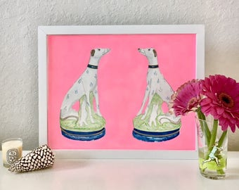 STAFFORDSHIRE GREYHOUNDS on NEON Pink Original Painting