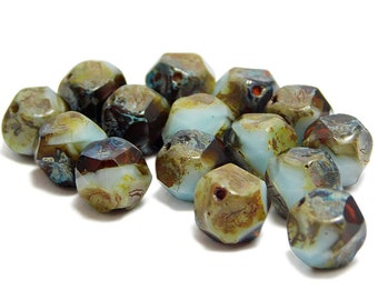 Czech Picasso Beads - Central Cut Beads - Round Central Cut - Round Beads - Czech Glass Beads - 9mm - 15pcs (B616)