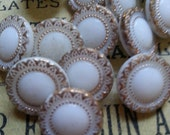 "12, Gold Trimmed, Milk Glass Buttons. Vintage. Measure 5/8""."