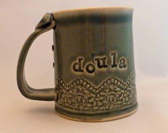 Doula mug, smoky blue-green, labor support, birth gift, pregnancy, coffee mug, thank you gift, birth, labor, pregnancy, congratulations