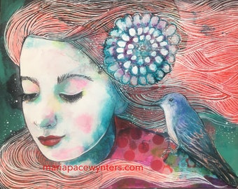 I Am Listening - Original mixed media painting by Maria Pace-Wynters