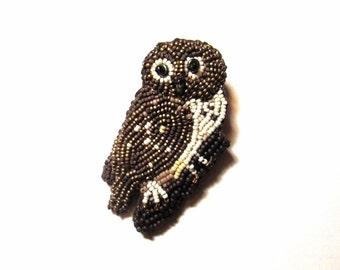 Beaded Owl Brooch Custom Made