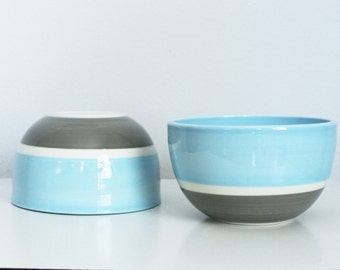 SALE Modern Pottery Bowl Blue and Grey Colorblock