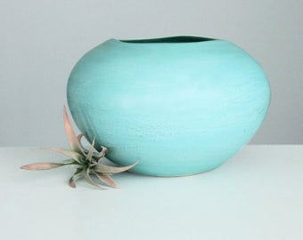 Large Ceramic Vase Turquoise Sea Green, Porcelain Vase Wavy Rim