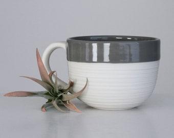 Handmade Porcelain Mug Grey, Groove Mug Grey, 12 Ounce Grey Mug, Large Pottery Mug