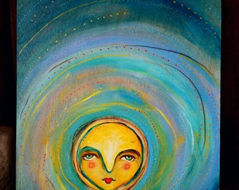 Sun Girl / Mixed Media Painting